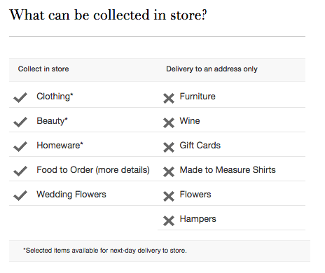 M & S click and collect