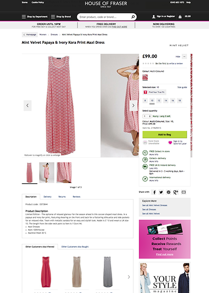 House of Fraser product detail page