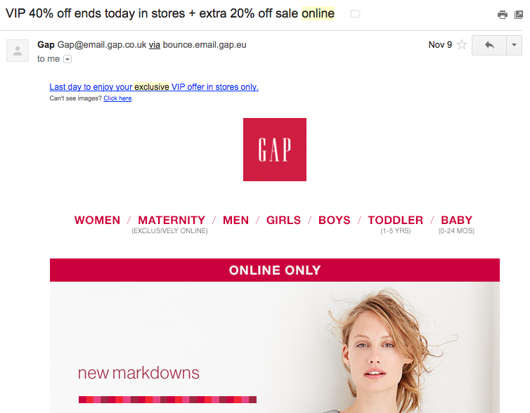 One of Gap's in-store only and online only sale separation.