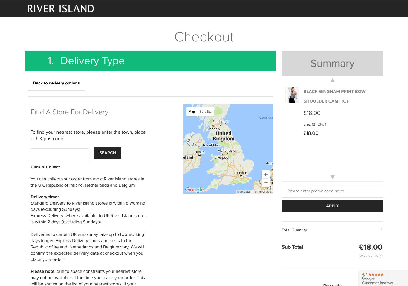 River Island Free Express Delivery