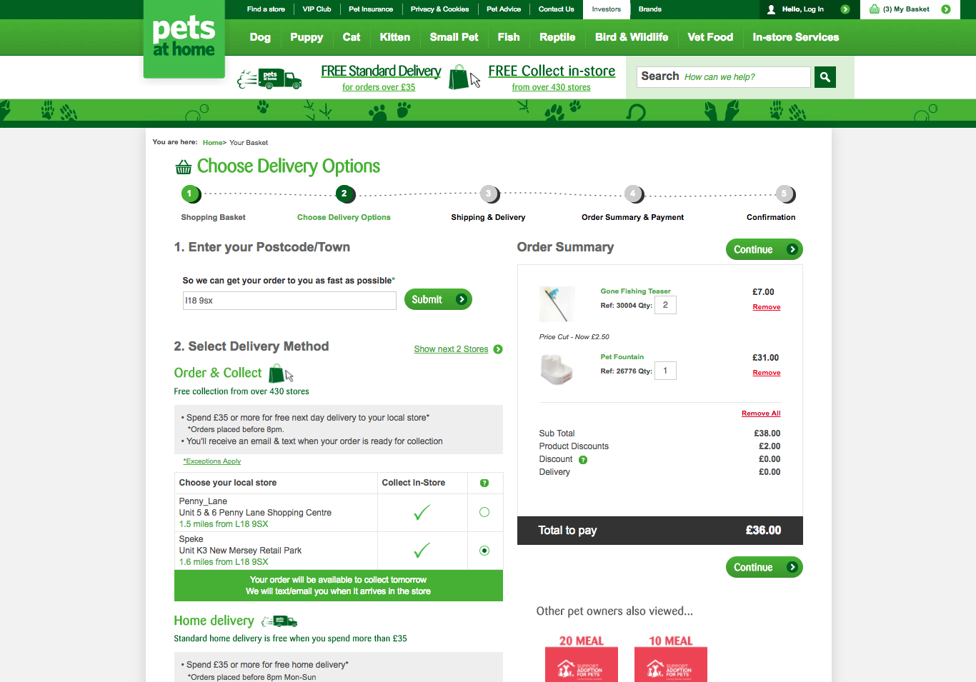 Express click and collect pets at home