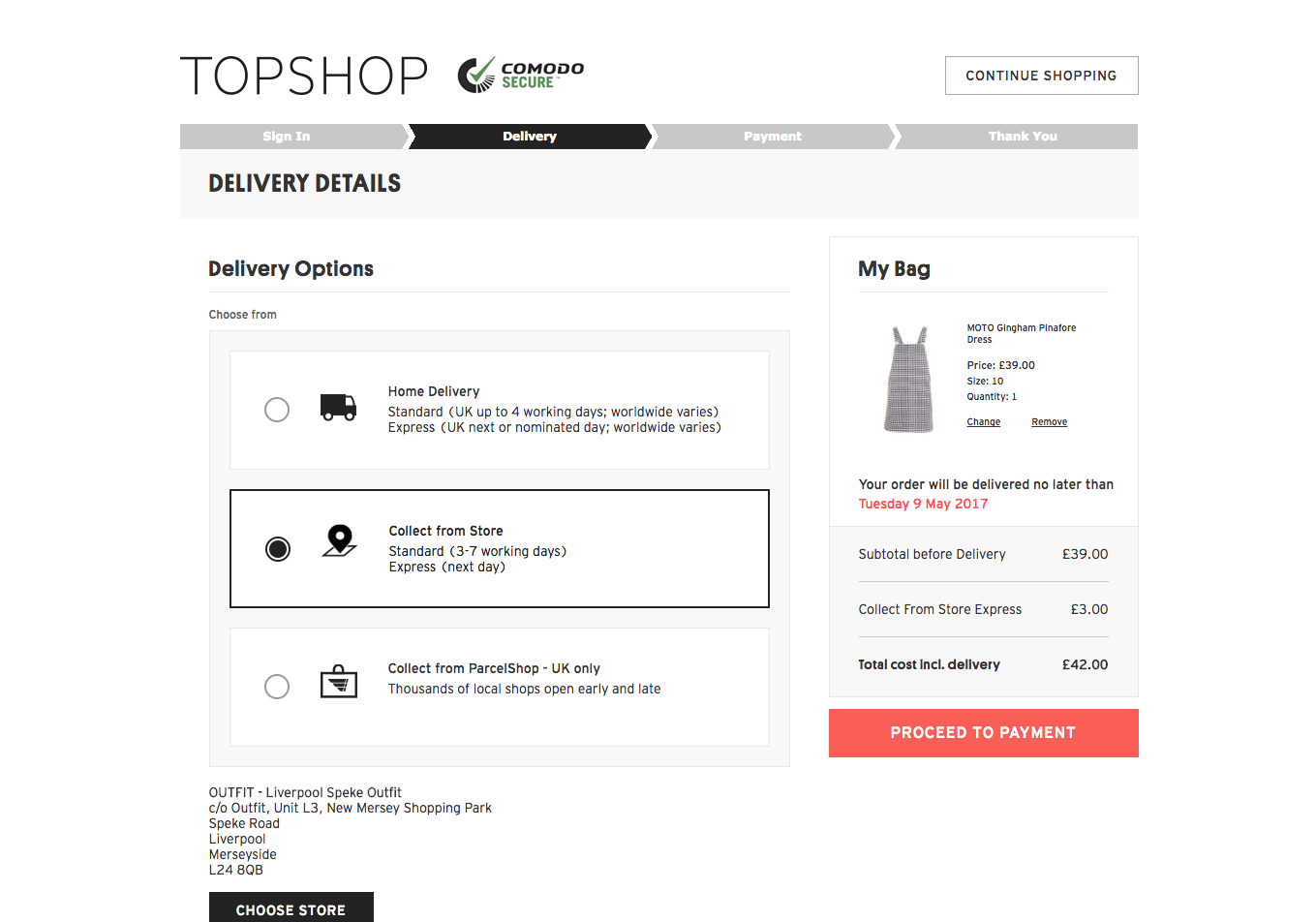 Express click and collect topshop